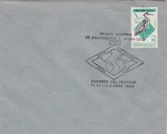 1980 SPC COVER URUGUAY- PRIMER CORREO 50 ANIVERSARIO EUROPE PAN AMERICA ROUND FLIGHT. TIMBRE ARDEA COCOI- BLEUP - Uruguay