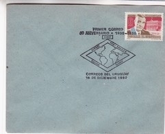 1980 SPC COVER URUGUAY- PRIMER CORREO 50 ANIVERSARIO EUROPE PAN AMERICA ROUND FLIGHT. TIMBRE OSCAR GESTIDO- BLEUP - Uruguay