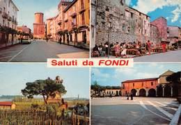 """4695"""" SALUTI DA FONDI """" 4 VEDUTE-ANIMATA-CART. ILL. POST. OR. NON SPED. - Souvenir De..."""