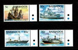"Barbados 1998 Sc # 877b, 872b, 873b, 880b  MNH **  Ships - Bateaux (Stamps Inscribed ""1998"") - Ships"