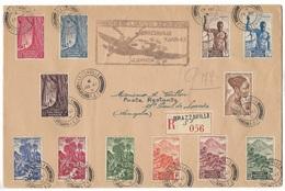 Lettre Recommandée Brazzaville / Luanda ( Angola ) Première Liaison Aérienne  TBE - A.E.F. (1936-1958)