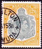 BERMUDA 1950 SG #120e 12sh6d Perf.13 Used Grey And Pale Orange CV £85.00 Chalk-surfaced Paper - Bermuda