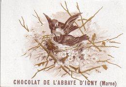 Belle Chromo Chocolat De L'Abbaye D'Igny (Marne), Oiseaux Sur Le Nid, Vierge Au Dos - Other