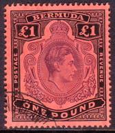 BERMUDA 1938 SG #121 £1 Perf.14 Used Purple And Black On Red CV £100.00 - Bermuda