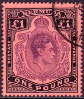 BERMUDA 1943 SG #121c £1 Perf.14 Used Deep Reddish Purple And Black On Pale Red CV £75.00 - Bermuda