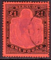 BERMUDA 1951 SG #121d £1 Perf.13 Used Violet And Black On Scarlet CV £85.00 - Bermuda
