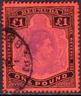 BERMUDA 1952 SG #121e £1 Perf.13 Used Bright Violet And Black On Scarlet CV £300.00 - Bermuda