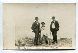 DOS HOMBRES CON NIÑO, DEUX HOMMES AVEC ENFANT, TWO MEN WITH BOY - PLAYA PLAGE PHOTO POSTALE 1914 NON CIRCULE - LILHU - Grupo De Niños Y Familias