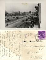 Indonesia, JAVA SOERABAIA, Unknown Street Scene, Cars (1953) RPPC Postcard - Indonesië