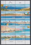 ISRAEL 2011 DEAD SEA CAESARIA TEL AVIV EILAT GALILEE BEACH SHEETLET - Blocchi & Foglietti