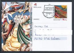Postal Stationery Of Biennial Art'Oeste Das Caldas Da Rainha. Stamp Painting 'Surfinho' Jorge Rebelo. Surf. Wine West 2s - Arte