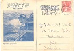 """NV Stoomvaart Mij. """"Nederland"""" Amsterdam Briefkaart (scheepvaart  Maritiem) (vanaf S.S. J. De Witt Anno 1938)   4 X Scan - Passagiersschepen"""