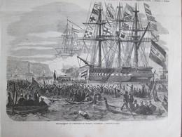 Gravure 1864  TRIESTE Embarquement De L Empereur Du Mexique à Trieste Italie   Maximilien - Prints & Engravings