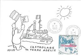 TAAF - Dumont D'Urville-T.Adélie: Carte Illustrée PEV Avec Timbre N°181 L'Astrobale Sur La Route Du Nord-Est- 21/01/1993 - Lettres & Documents