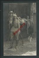 Photo-Carte. Hombourg - Soldats Allemands, Casque à Pointe, Superbe Cavalier Avec Sa Monture. Guerre 1914-18. - Plombières