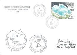 TAAF - Dumont D'Urville-T.Adélie: Lettre Avec Timbre N°160 Mordenite - 21/01/1993 - Lettres & Documents