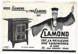 1925 Cuisinière Clamond 22 Rue Drouot Paris - Publicité Cuisinières à Gaz (Avocat) - Piano Pneumatique Odeola - Publicités