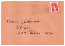 """1981-lettre De GIMONT--32  Pour POITIERS-86--flamme Temporaire """"MOTO-CROSS--moto """"-type Sabine - Storia Postale"""