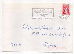 """1980-lettre De BEZIERS-34 Pour POITIERS-86-flamme Temporaire """"300° Anniv Mort Paul Riquet-(canal Du Midi) """"-type Sabine - Storia Postale"""