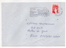 """1981-lettre De NANCY-54 Pour POITIERS-86-flamme Temporaire """"60° Anniv Club Phil Lorrain--attelage """"-type Sabine - Storia Postale"""
