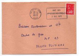 """1972-lettre De LILLE-59 Pour POITIERS-86-flamme Temporaire """"Nuit Des Htes Etudes Industrielles """"-type Marianne Béquet - Storia Postale"""