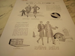 ANCIENNE PUBLICITE POUR LE PRINTEMP  NOTES D ELEGANCE 1929 - Vintage Clothes & Linen