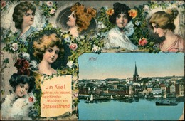 Ansichtskarte Kiel Frauenporträt: Totalansicht 1912 - Non Classés