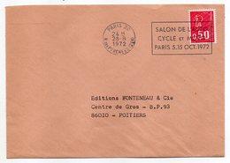 """1972-lettre De PARIS 20-75  Pour POITIERS-86-flamme Temporaire """"Salon Auto-Cycle Et Moto """" Type Marianne Béquet - Storia Postale"""