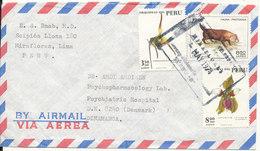 Peru Air Mail Cover Sent To Denmark 1974 Topic Stamps - Peru