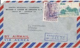 Peru Registered Air Mail Cover Sent To Denmark 17-7-1957 - Peru