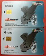 Serie 00090-38..., Italian Army In Kosovo Lot 2 Chip Phone CARD 10 Euro Used Operator TELECOM ITALIA *Eagle Flying* - Kosovo