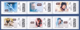 FRANCE STAR WARS Montimbrenligne, 24 étiquettes Autoadhésives Neuves** Cinéma, Film, Movie. Les Derniers Jedi. - Cinéma