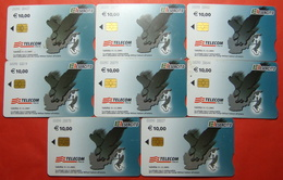 Serie 00090-03,3..., Italian Army In Kosovo Lot 8 Chip Phone CARD 10 Euro Used Operator TELECOM ITALIA *Eagle Flying* - Kosovo