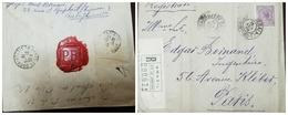 O) 1918 BRAZIL, SEALING WAX - P. B. LACRE, LIBERTY HEAD SC 206 500r Dull Violet, REGISTERED FROM RIO DE JANEIRO TO PARIS - Brazil