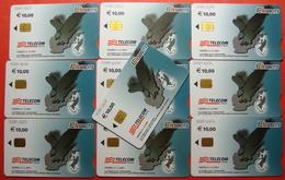 Serie 00089-6..., Italian Army In Kosovo Lot 10 Chip Phone CARD 10 Euro Used Operator TELECOM ITALIA *Eagle Flying* - Kosovo