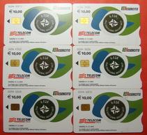 Serie 00094-03 0,2,3,4,5,65Italian Army In Kosovo Chip Phone CARD 10 Euro Used Operator TELECOM ITALIA *M. B. WEST KFOR* - Kosovo
