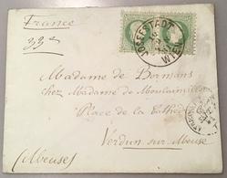 """1867 Ausgabe """"JOSEFSTADT WIEN 1881"""" 3kr + 2Kr Paare > FRANCE Verdun Sur Meuse(lettre Österreich Brief Frankreich Cover - 1850-1918 Imperium"""