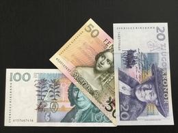 SWEDEN SET 20 50 100 KRONOR BANKNOTES 1991 1996 1986 UNC FIRST YEAR ISSUE SET!!! - Sweden
