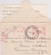 """Doc. Congo Belge - Petite Lettre """"Par Avion"""" Affr. Mécanique. 7 Elisabethville  8-1-53 Braine L'Alleud - Congo Belge"""