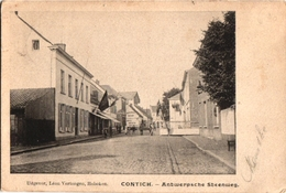 1 Postkaart Kontich Contich Antwerpsche  Antwerpse Steenweg   Uitgever Léon Vertongen - Kontich