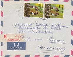 """Doc. Congo Belge - """"RECOMMANDE"""" Lumumbashi 1975 N°852 (2x) Elisabethville 1 >> LEUVEN - 1971-79: Oblitérés"""