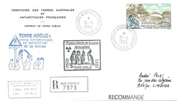 TAAF-Dumont D'Urville-T.Adélie: Lettre Avec Timbre Poste Aérienne N°126 Laboratoire De Biologie Animale - 21/01/1993 - Lettres & Documents