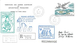 TAAF-Dumont D'Urville-T.Adélie: Lettre Avec Timbre Poste Aérienne N°128 Inauguration De La Piste - 21/01/1993 - Lettres & Documents