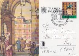 Spain 1975 Postal Stationery Picture Postcard 7 P. Madrid Plaza Mayor From World Philatelic Exhibition To Italy - Interi Postali