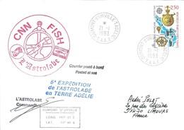 """TAAF - Dumont D'Urville-T.Adélie: Lettre """"L'Astrobale"""" Avec France N°2755 Christophe Colomb - 21/01/1993 - Lettres & Documents"""