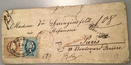 """""""GRAZ RECOMMANDIRT"""" 1874 4 FARBEN CHARGÉ > PARIS, FRANCE (lettre Österreich 1867 Ausgabe Brief Frankreich Cover Autriche - 1850-1918 Imperium"""