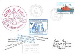 """TAAF - Dumont D'Urville-T.Adélie: Lettre """"L'Astrobale"""" Avec A. Antartic Territory N°89 RSV Aurora Australis - 21/01/1993 - Lettres & Documents"""