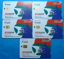 Serie 00098-0,1,2,3,6, Italian Army In Kosovo Lot 5 Chip Phone CARDS 10 Euro Used Operator TELECOM ITALIA *RADIO WEST* - Kosovo