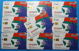 Serie 00098-0,2,3 Italian Army In Kosovo Lot 10 Chip Phone CARDS 10 Euro Used Operator TELECOM ITALIA *RADIO WEST* - Kosovo