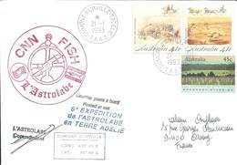 TAAF -Dumont D'Urville-T.Adélie: Lettre L'Astrobale Avec Australie N°1168, 1169 Fièvre Or Et 1262 Vignobles - 21/01/1993 - Lettres & Documents